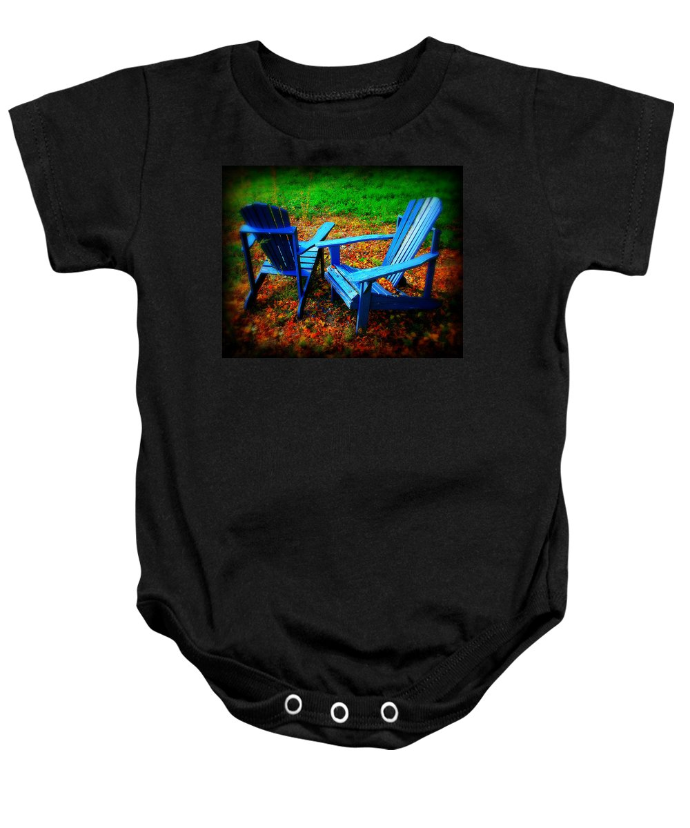 Chair Baby Onesie featuring the photograph Blue Chairs by Perry Webster
