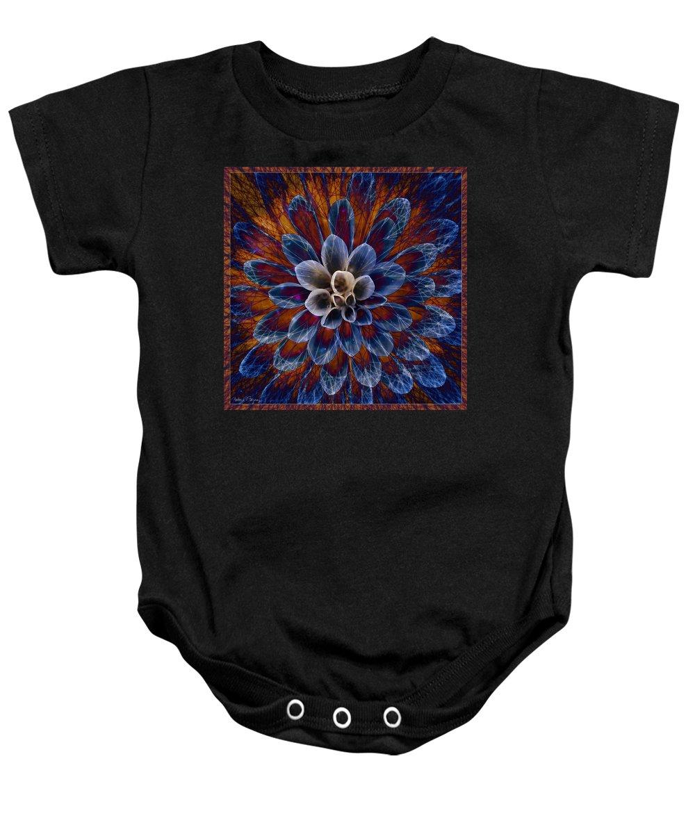 Flower Baby Onesie featuring the digital art Blue Dahlia by Barbara Berney