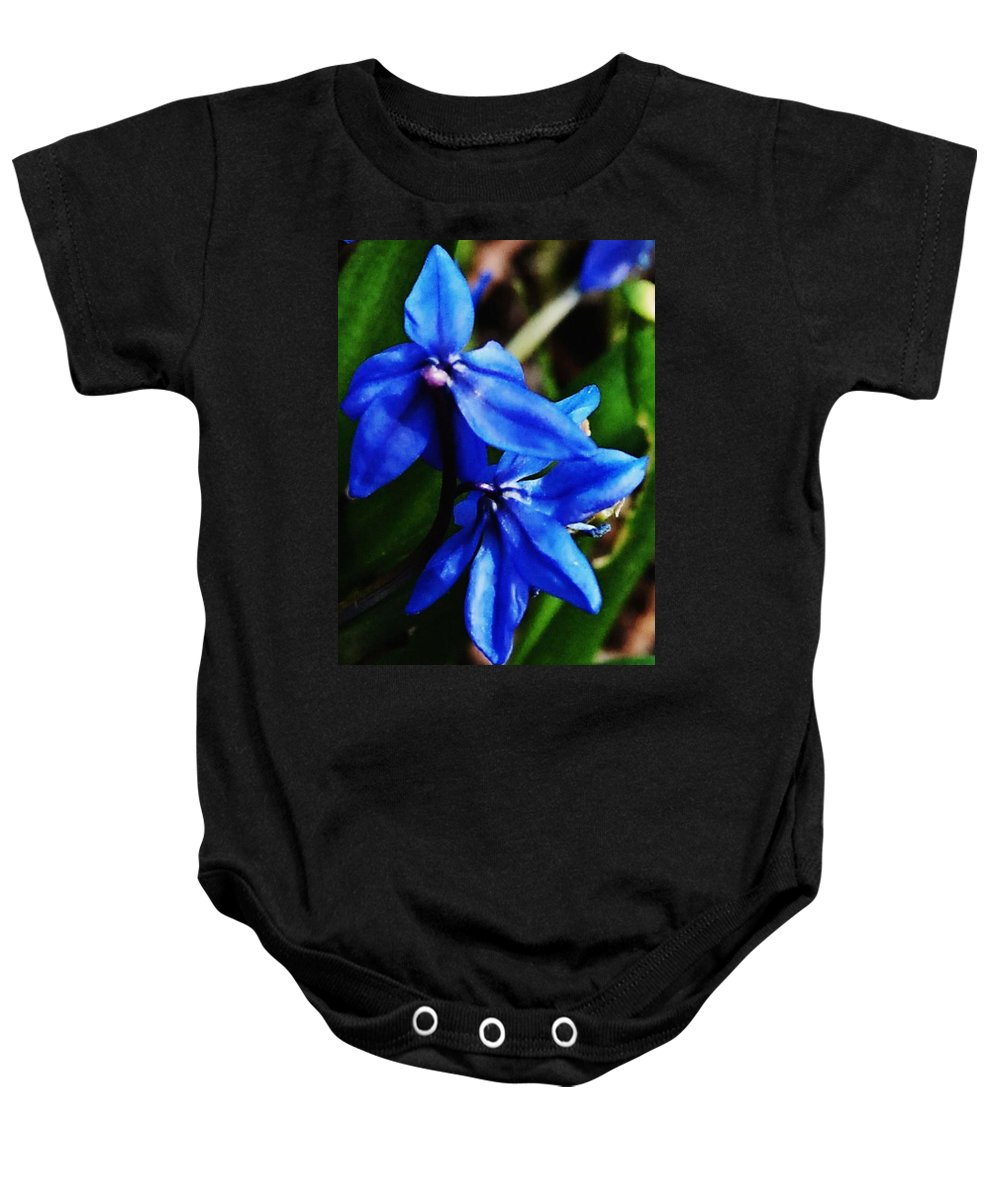 Digital Photo Baby Onesie featuring the photograph Blue Floral by David Lane