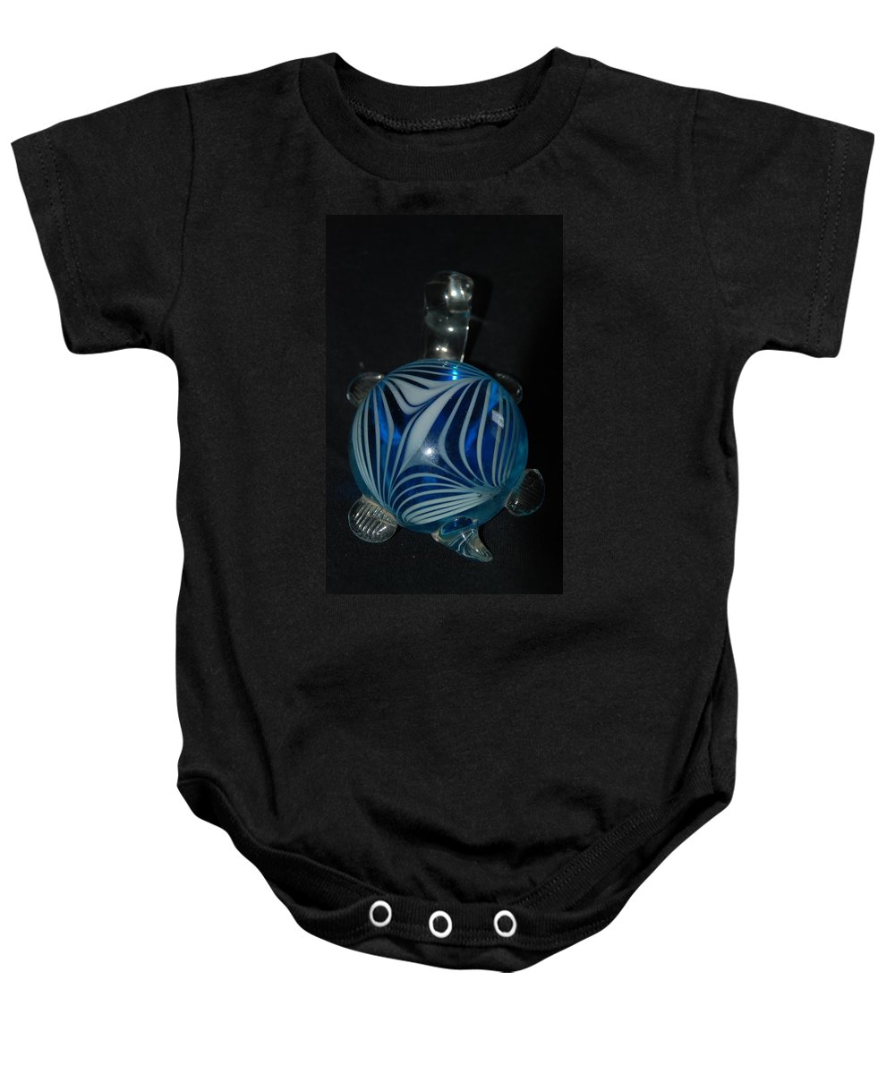 Glass Baby Onesie featuring the photograph Blue Glass Turtle by Rob Hans