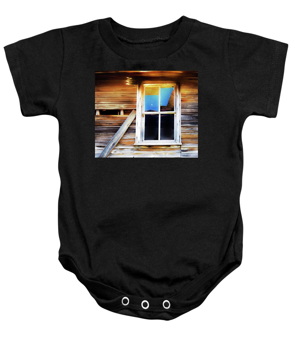 Abandoned House Baby Onesie featuring the digital art Blue Glass by Yolanda Redding