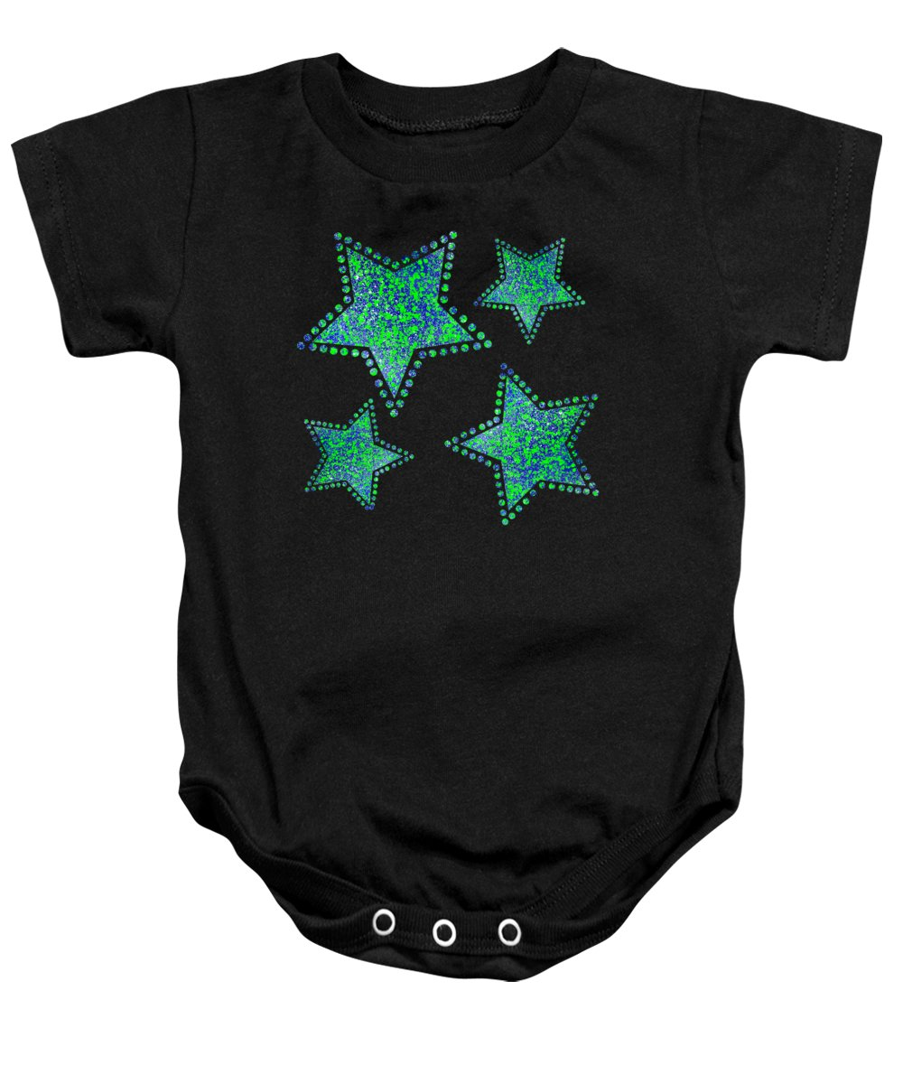 Abstract Baby Onesie featuring the painting Blue Green Splatter by Becky Herrera