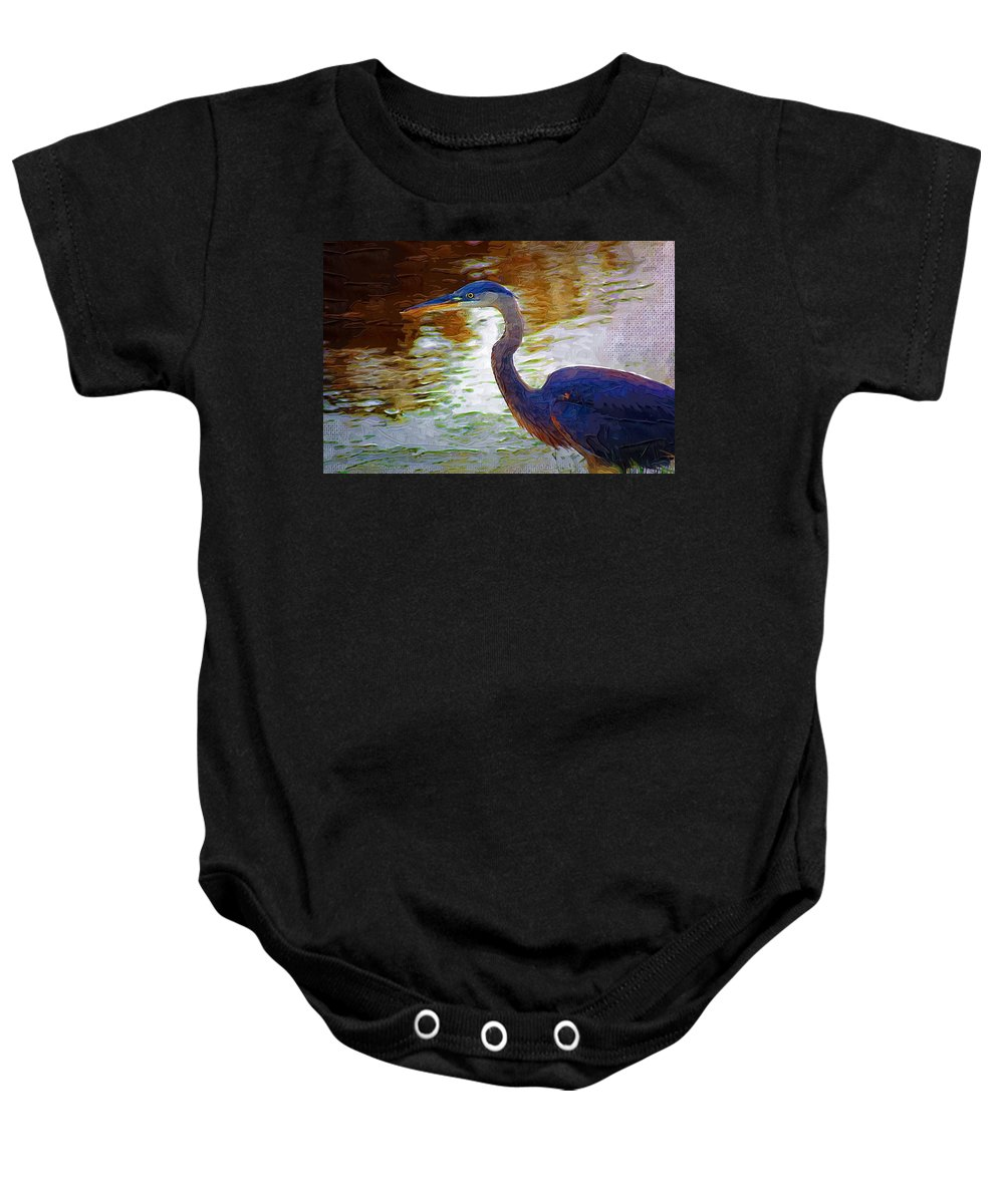 Blue Heron Baby Onesie featuring the photograph Blue Heron 2 by Donna Bentley