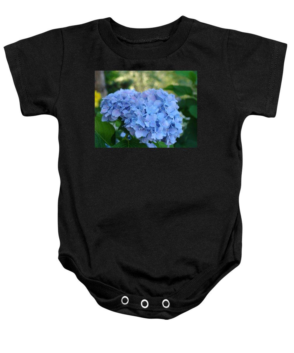 Hydrangea Baby Onesie featuring the photograph Blue Hydrangea Flower Art Prints Baslee Troutman by Baslee Troutman