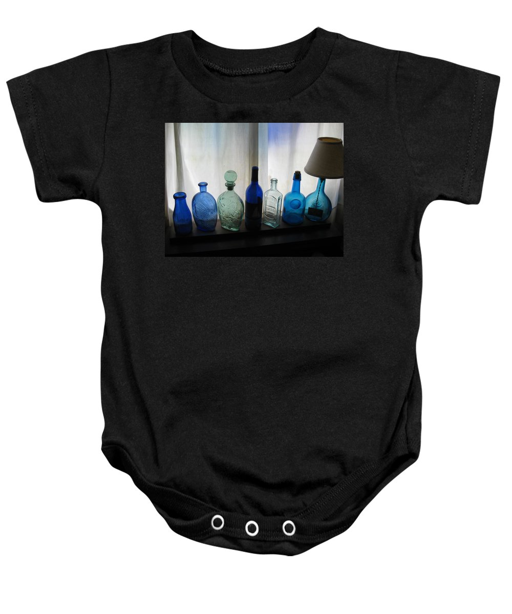 Bottles Baby Onesie featuring the photograph Blue by John Scates