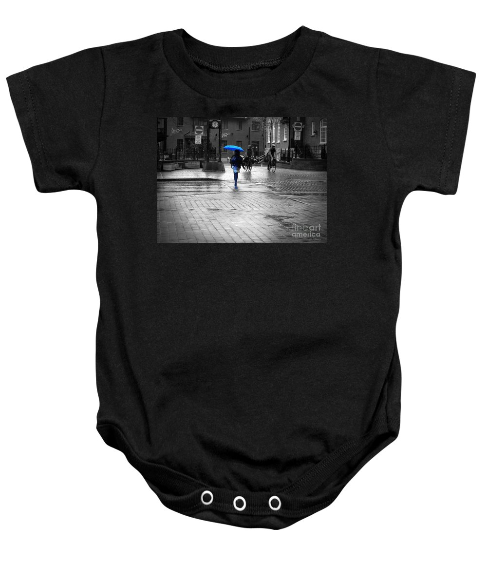 Black And White Baby Onesie featuring the photograph Blue Monday by M Sylvia Chaume