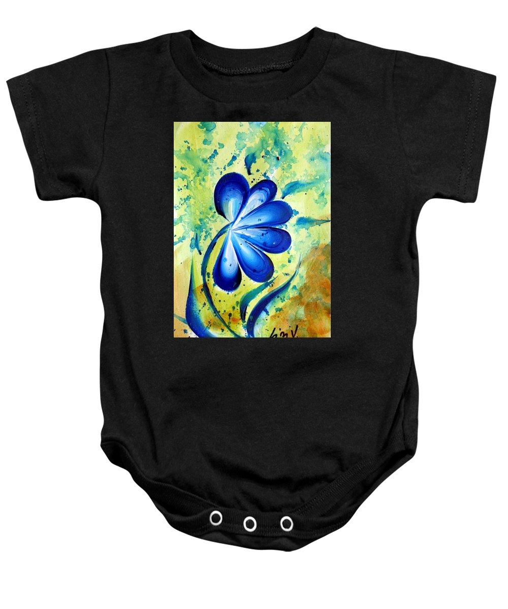 Flower Baby Onesie featuring the painting Blue Mood by Luiza Vizoli