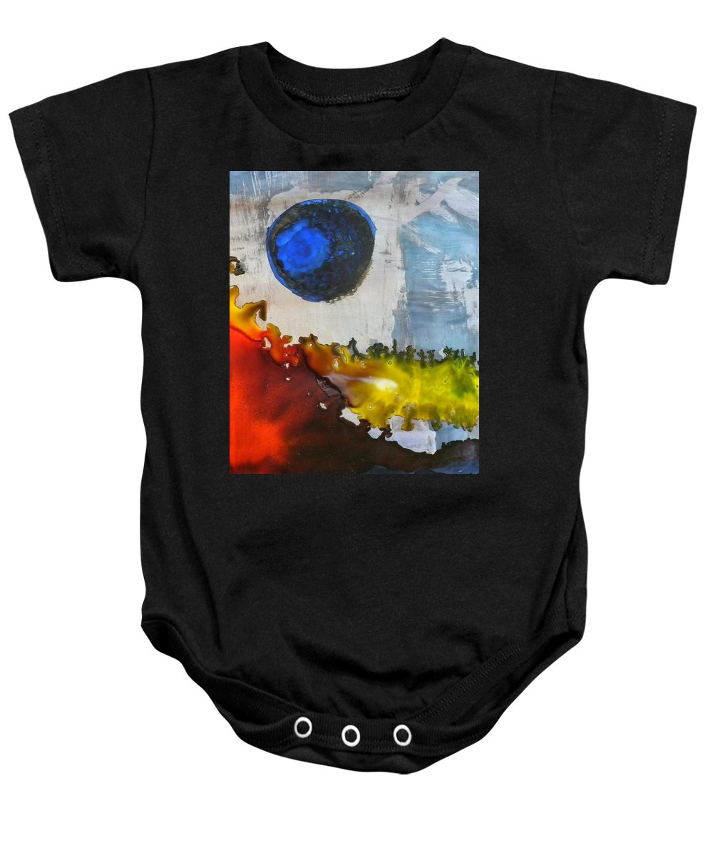 Pinata Ink On Yupo Paper Baby Onesie featuring the painting Blue Moon by Cynthia Conte
