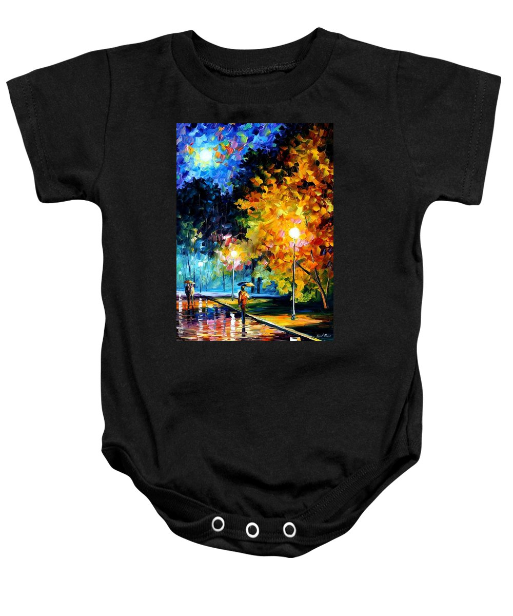 Afremov Baby Onesie featuring the painting Blue Moon by Leonid Afremov