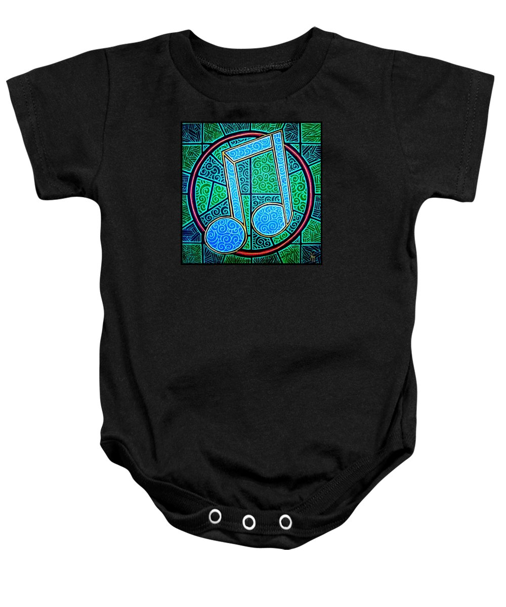 Music Baby Onesie featuring the painting Blue Note by Jim Harris