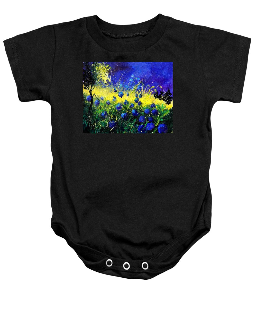 Flowers Baby Onesie featuring the painting Blue Poppies by Pol Ledent