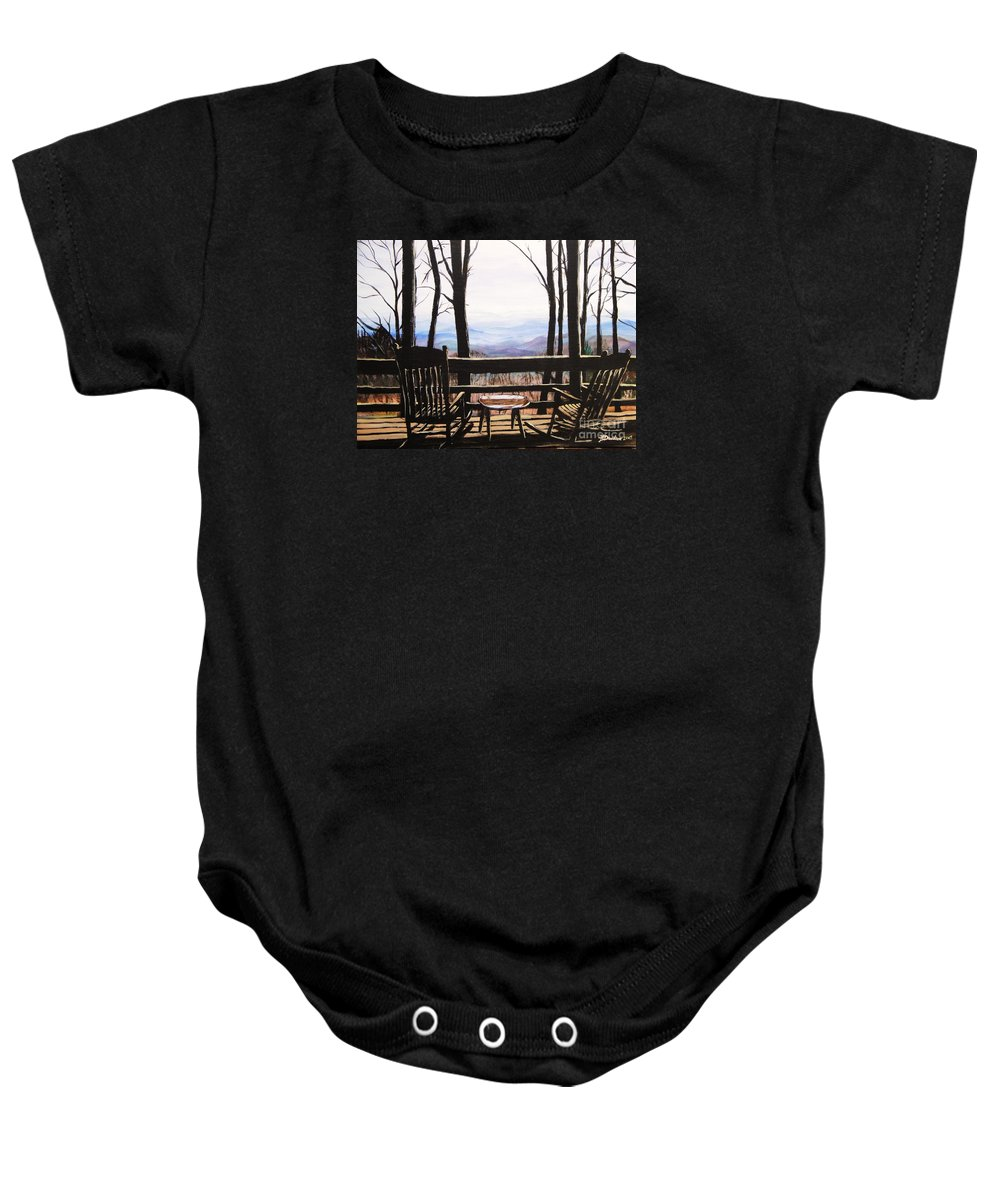 North Carolina Baby Onesie featuring the painting Blue Ridge Mountain Porch View by Patricia L Davidson