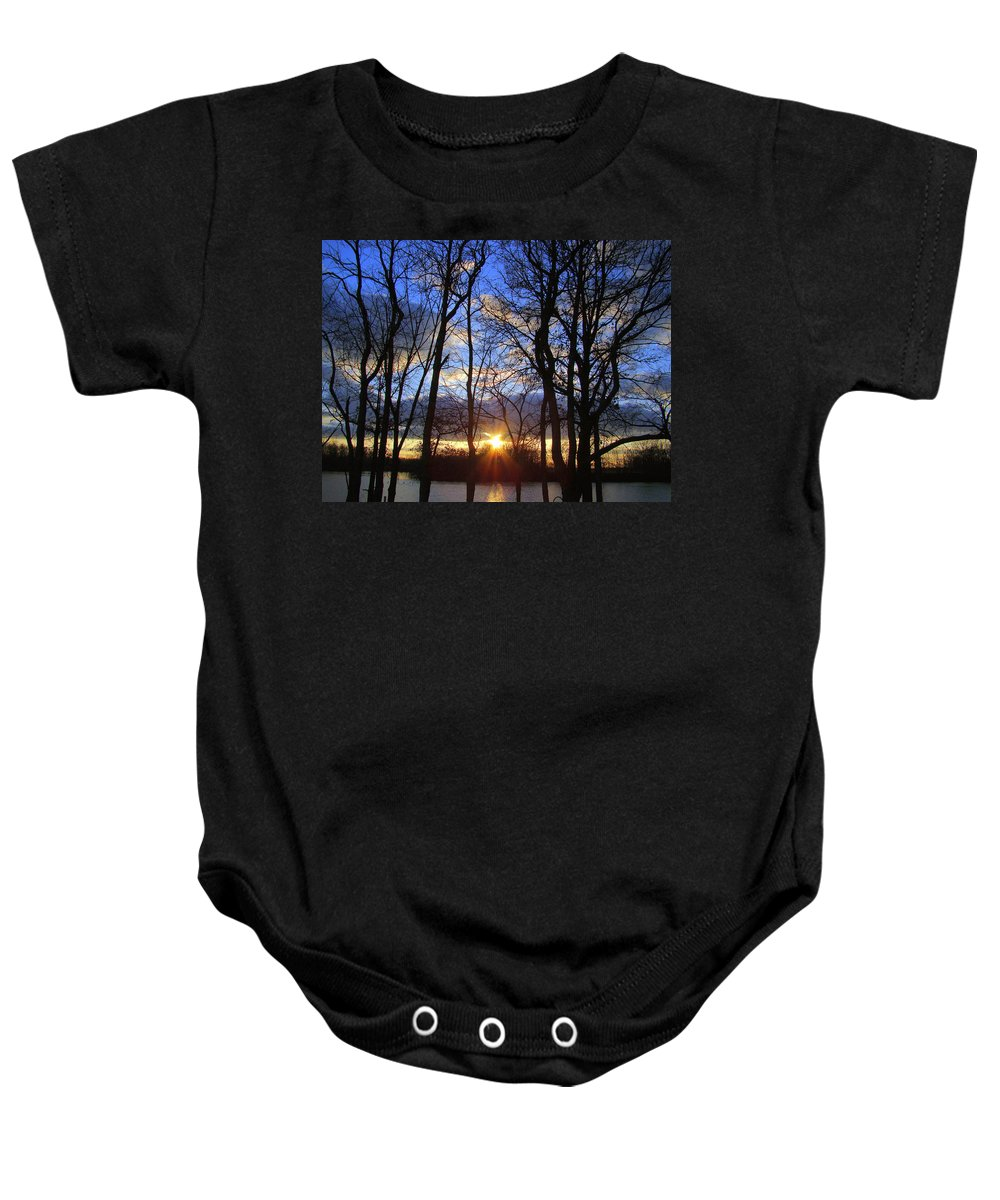 Sunset Baby Onesie featuring the photograph Blue Skies And Golden Sun by J R Seymour