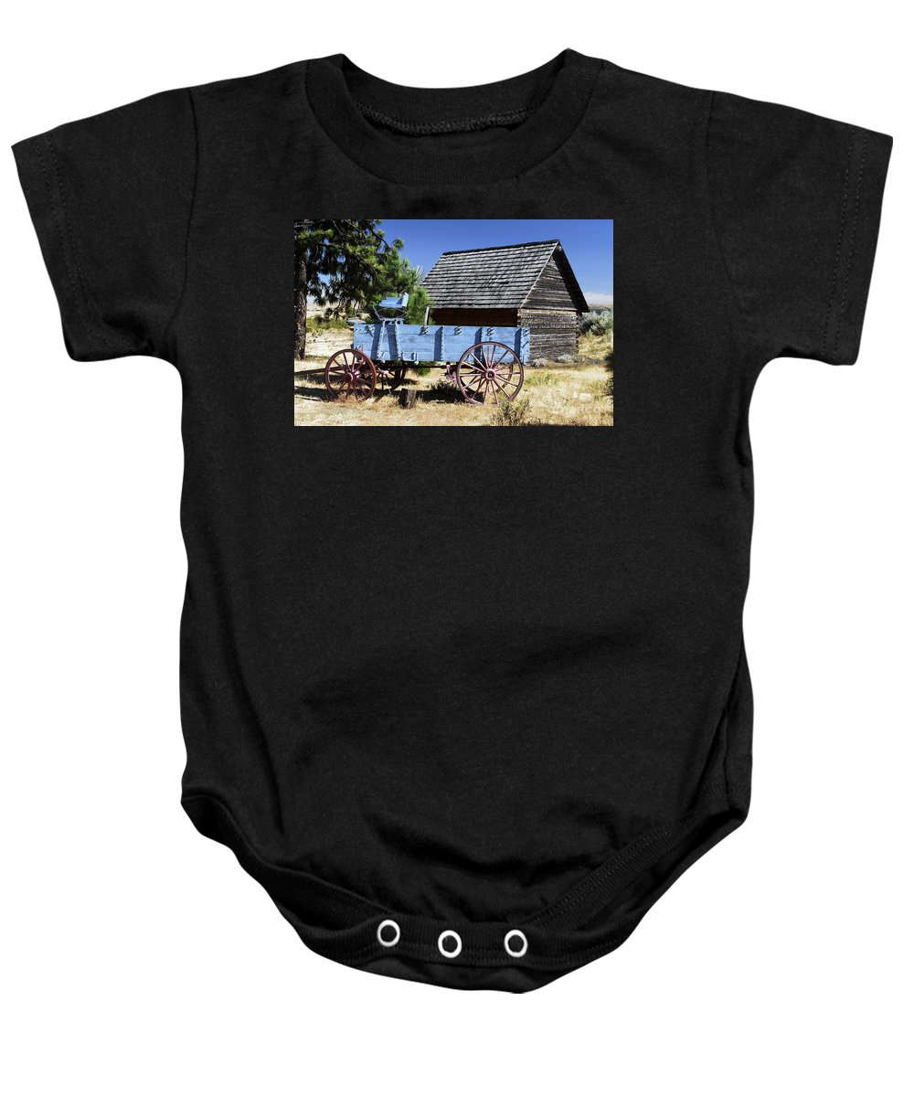 Wagon Baby Onesie featuring the photograph Blue Wagon by David Lee Thompson