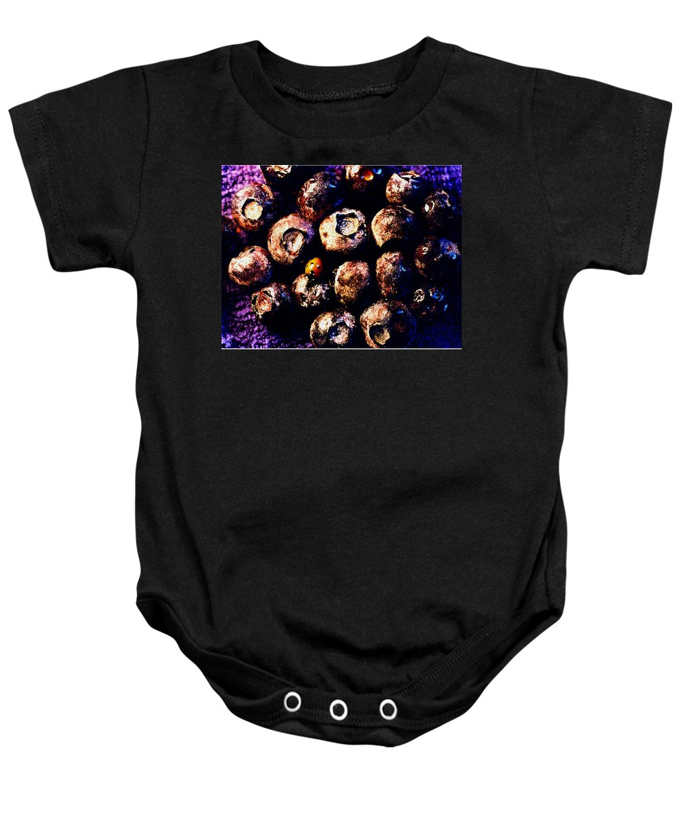 Blueberries Baby Onesie featuring the photograph Blueberries And Ladybug by Nancy Mueller