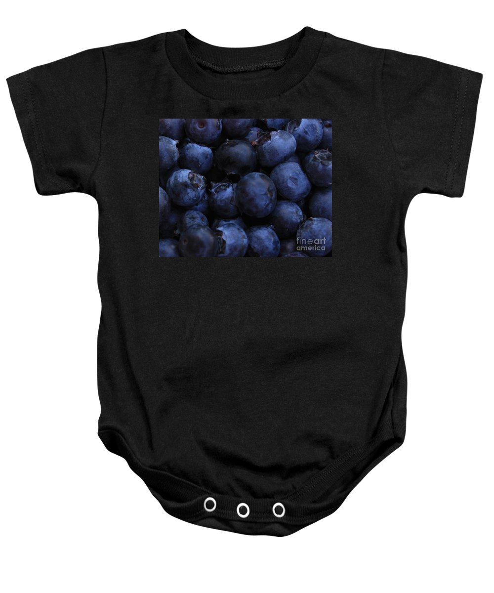Blueberries Baby Onesie featuring the photograph Blueberries Close-up - Horizontal by Carol Groenen