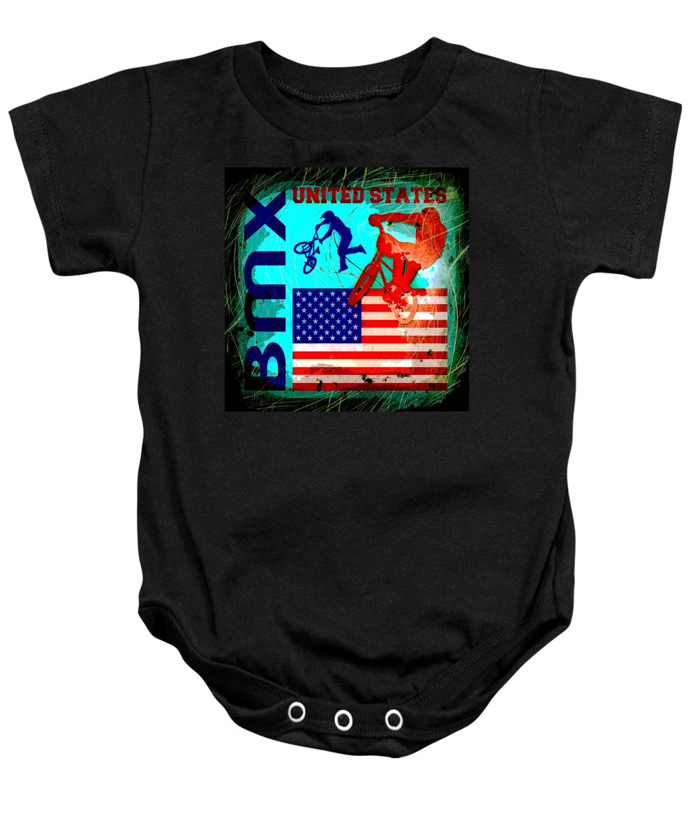 Bmx Baby Onesie featuring the photograph Bmx United States by David G Paul