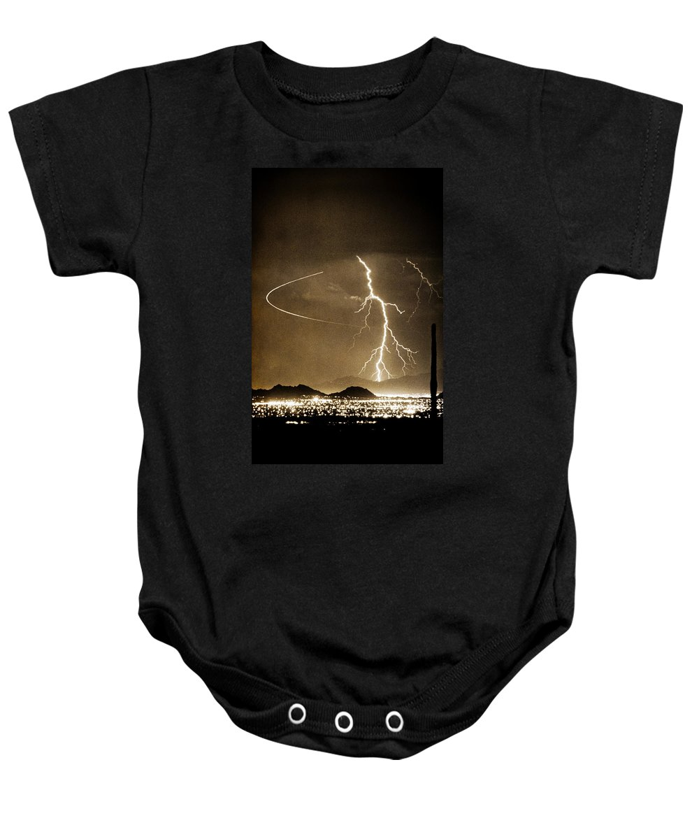 Lightning Baby Onesie featuring the photograph Bo Trek Lightning Art by James BO Insogna