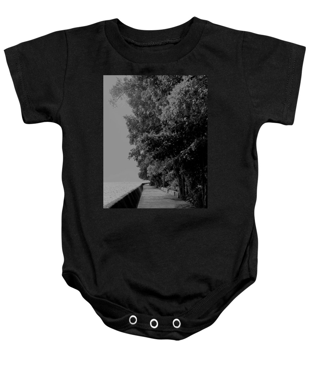 Black And White Baby Onesie featuring the photograph Boardwalk by Ian MacDonald