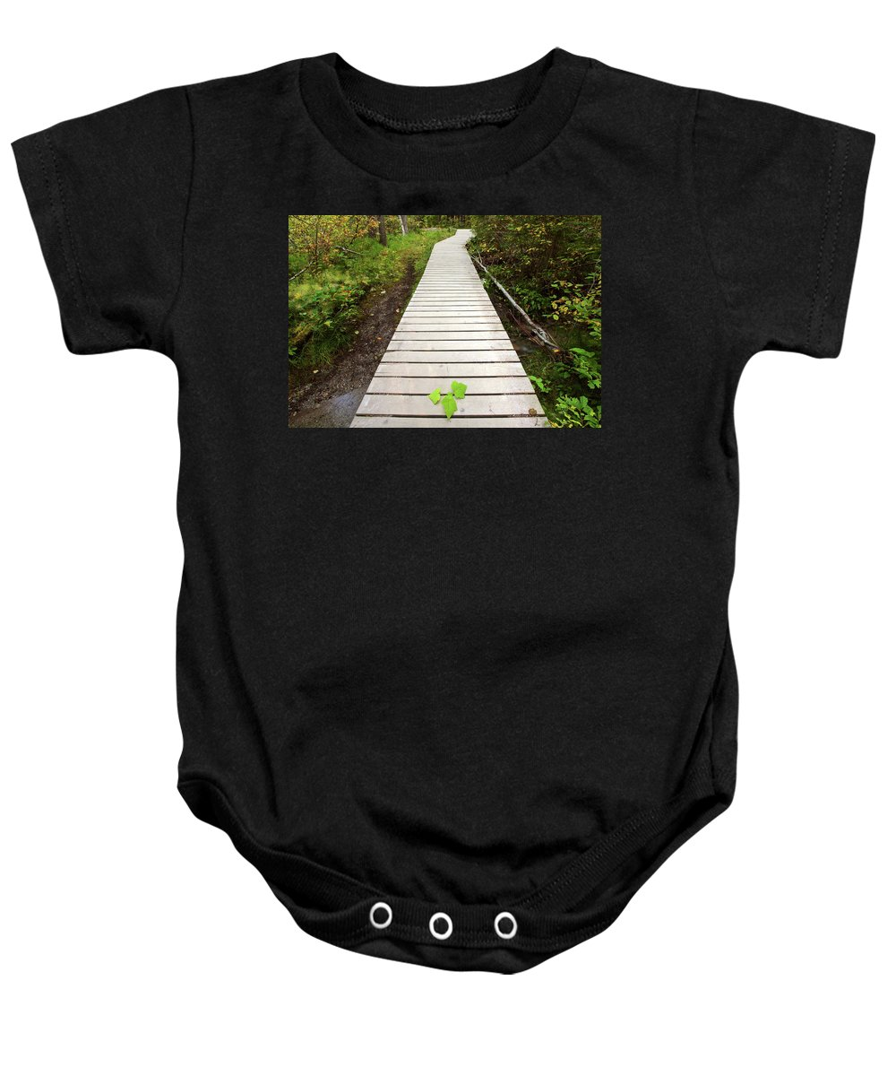 Bushes Baby Onesie featuring the digital art Boardwalk To Backguard Falls In British Columbia by Mark Duffy