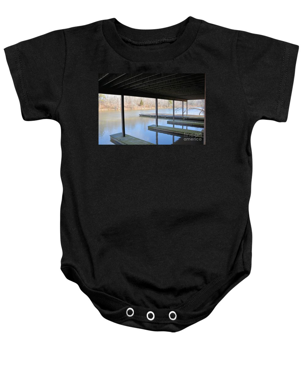 Boat House Baby Onesie featuring the photograph Boat House At Sweet Briar by Katherine W Morse