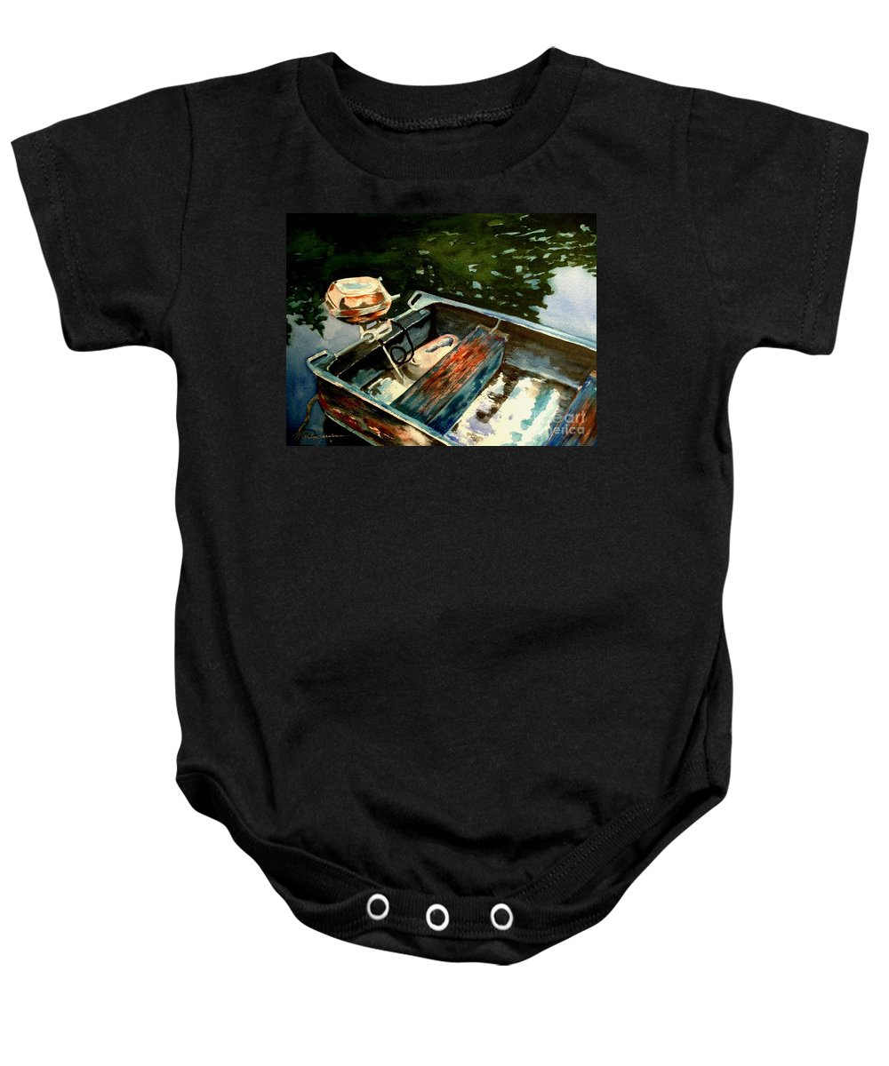 Boat Baby Onesie featuring the painting Boat In Fog 2 by Marilyn Jacobson