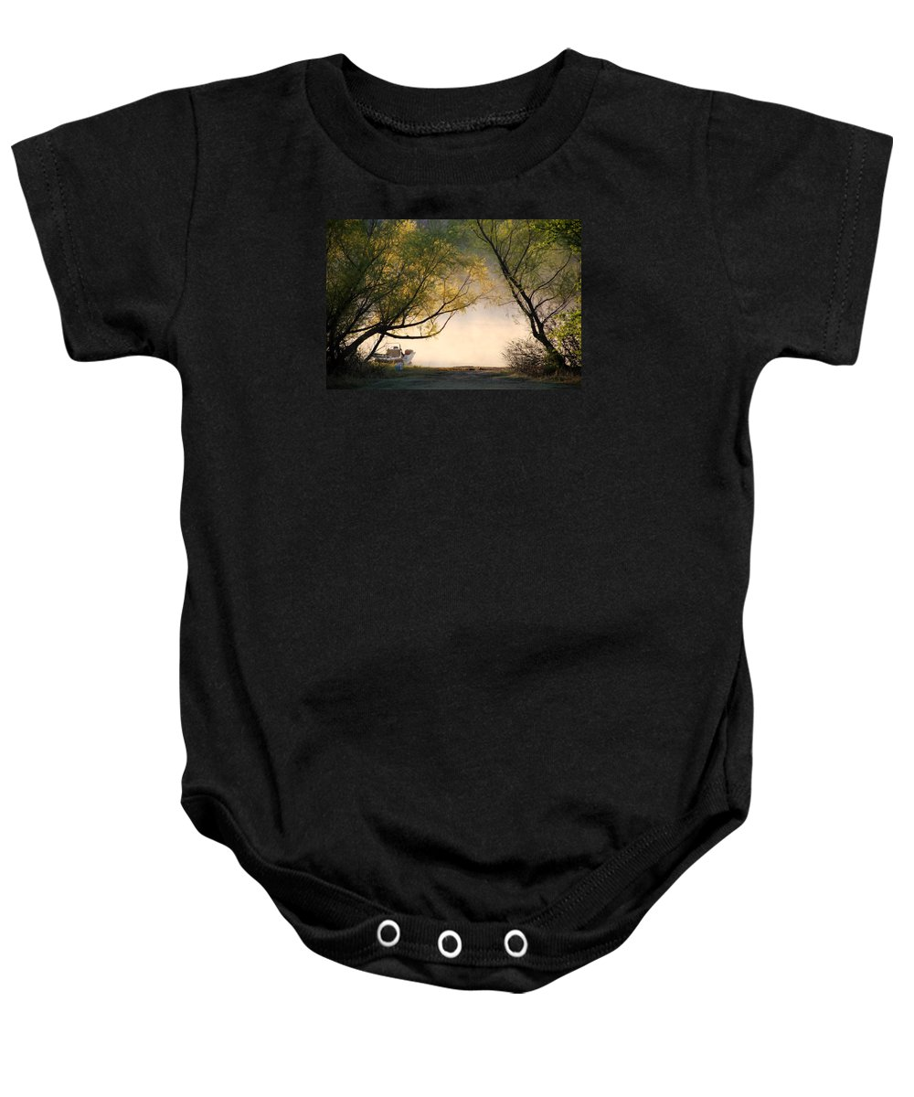 Trees Baby Onesie featuring the photograph Boat..check..cooler..check..bait Bucket..check by Carolyn Fletcher