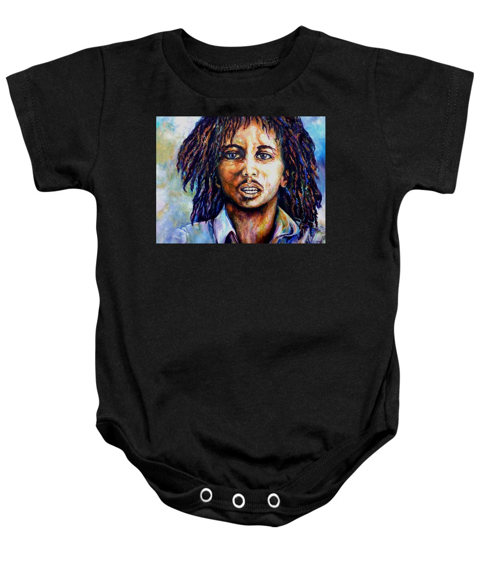 Original Fine Art By Lloyd Deberry Baby Onesie featuring the painting Bob Marley by Lloyd DeBerry