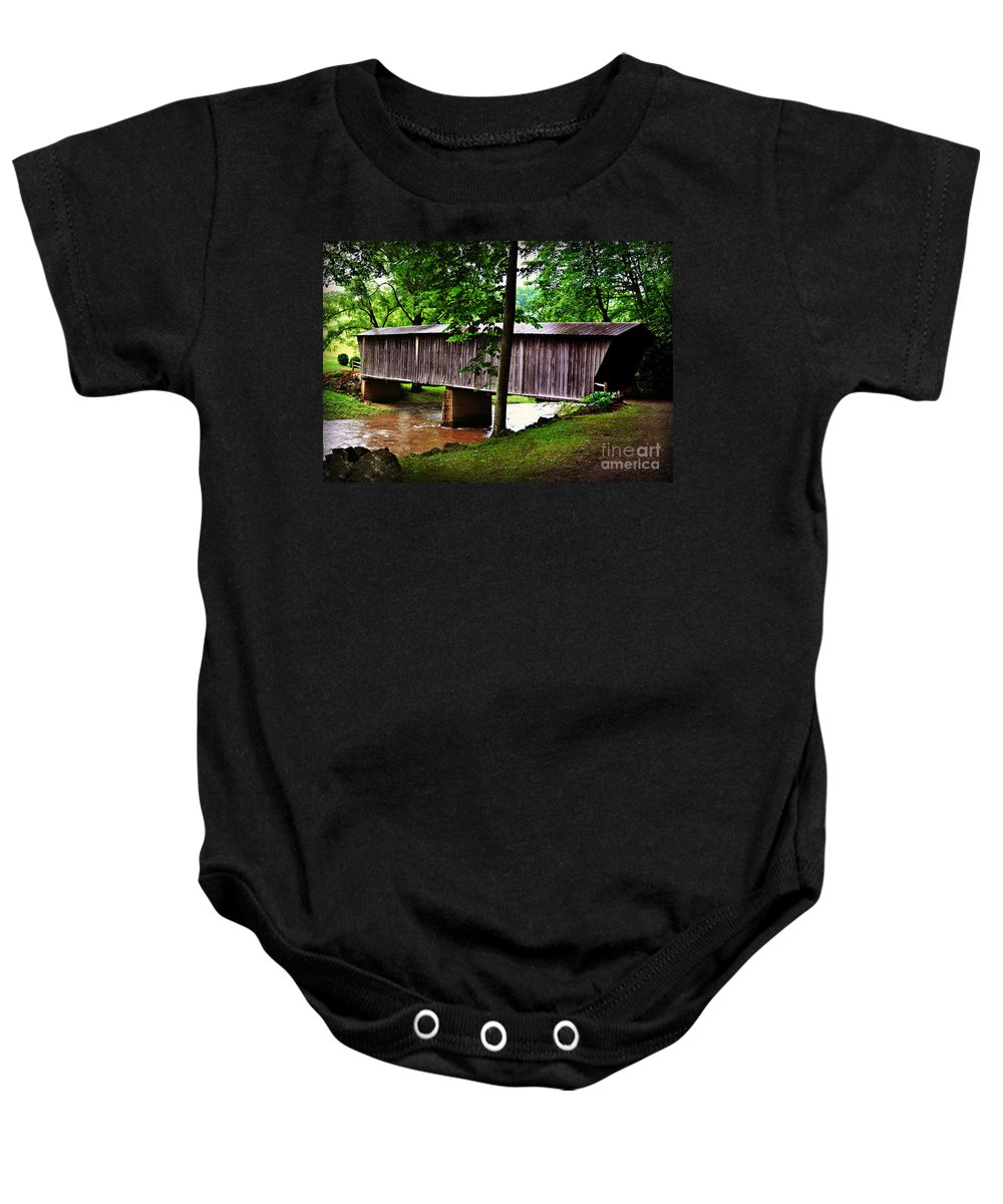 Floyd County Baby Onesie featuring the photograph Bob White Covered Bridge by Eric Liller