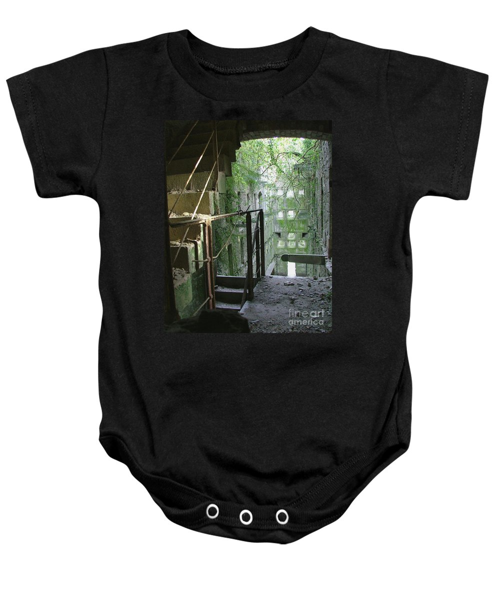 England Baby Onesie featuring the photograph Bodmin Gaol Cornwall England by Heather Lennox