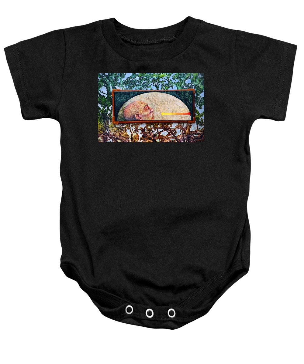 Surrealism Fantasy Fantastic Realism Decalcomania Otto Rapp The Mystic Baby Onesie featuring the painting Bogomil Rising by Otto Rapp