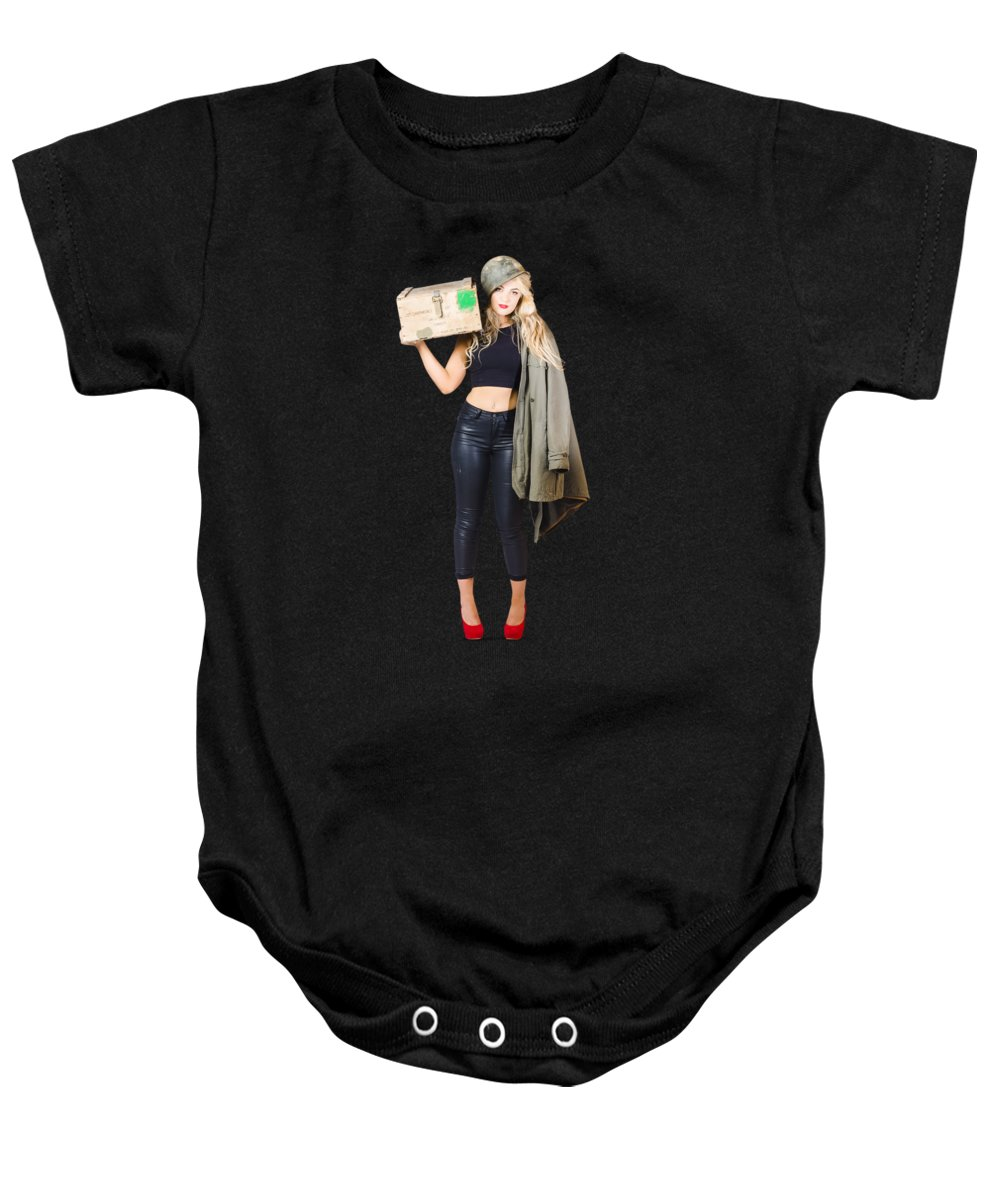 Pinup Baby Onesie featuring the photograph Bombshell Blond Pinup Woman In Dangerous Style by Jorgo Photography - Wall Art Gallery