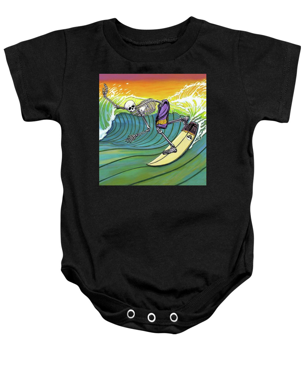Day Of The Dead Baby Onesie featuring the painting Boneyard by Jacob Medina