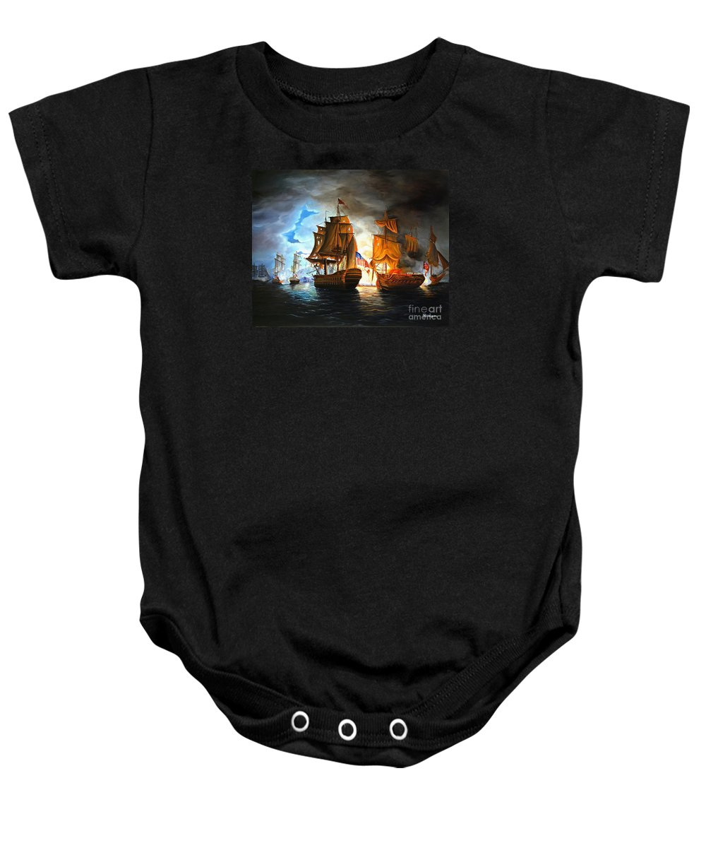 Naval Battle Baby Onesie featuring the painting Bonhomme Richard Engaging The Serapis In Battle by Paul Walsh