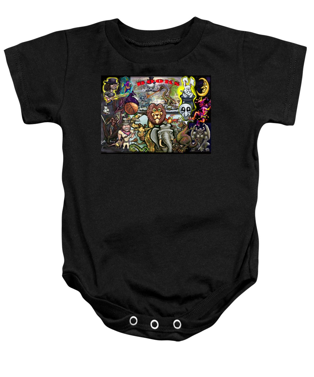Book Baby Onesie featuring the painting Books by Kevin Middleton