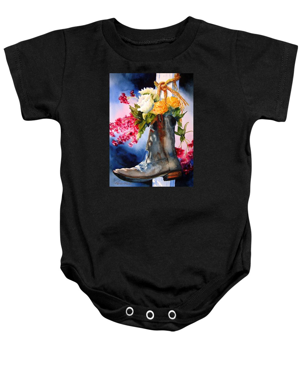 Cowboy Baby Onesie featuring the painting Boot Bouquet by Karen Stark