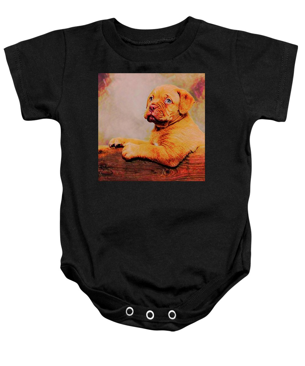 Akc Baby Onesie featuring the photograph Bordeaux Mastiff Pup by Robert Kinser