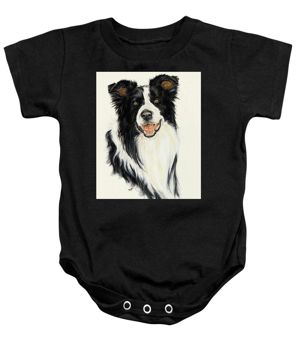 Collie Baby Onesie featuring the painting Border Collie by Barbara Keith