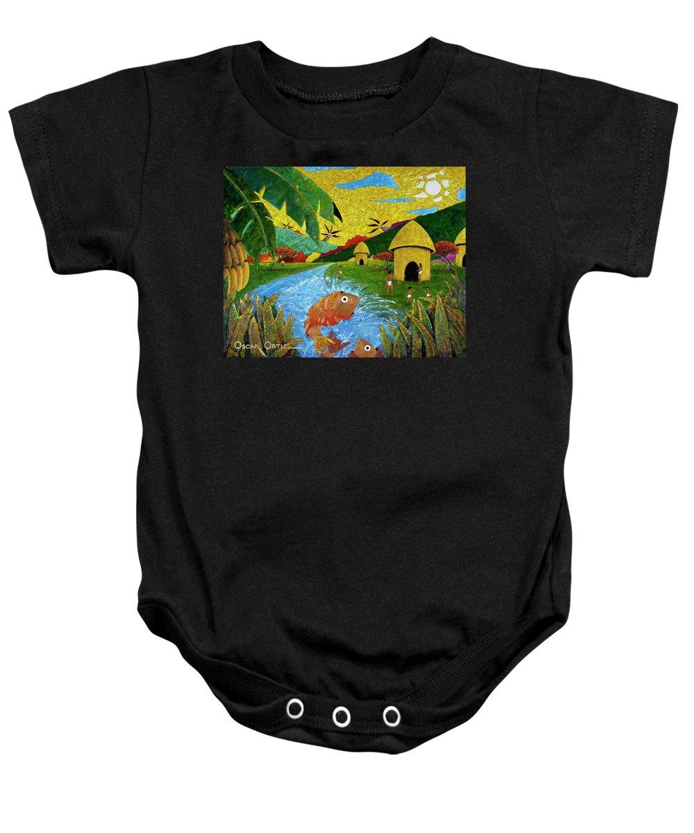 Tainos Baby Onesie featuring the painting Boriken by Oscar Ortiz