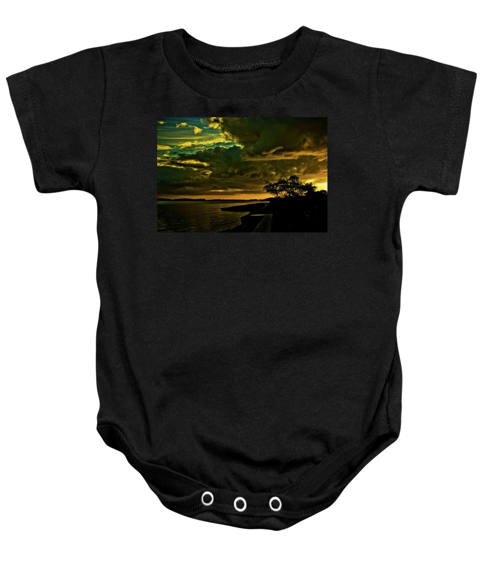 Squantum Baby Onesie featuring the photograph Boston Bay Sunrise by Albert Seger