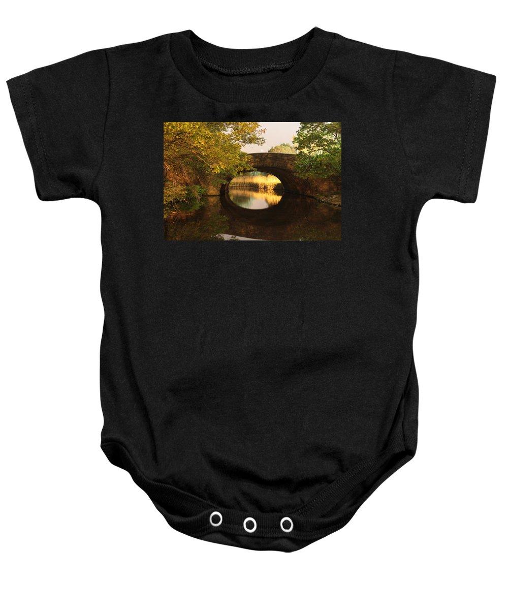 Boston Baby Onesie featuring the photograph Boston Bridge Reflections by Lauri Novak