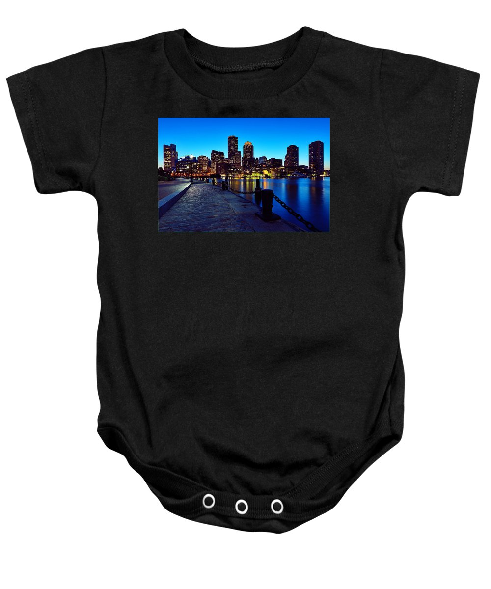 Boston Baby Onesie featuring the photograph Boston Harbor Walk by Rick Berk