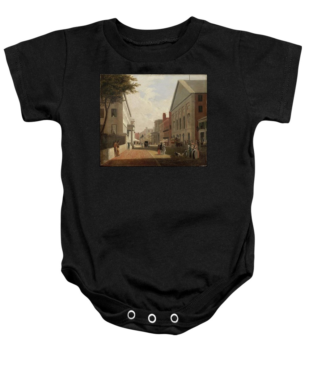 Tremont Street Baby Onesie featuring the painting Boston by MotionAge Designs