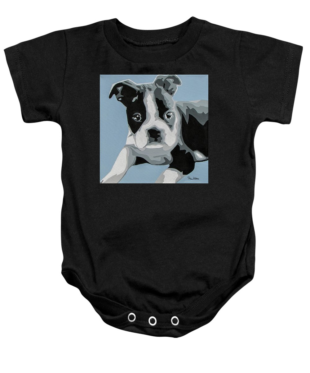 Boston Terrier Baby Onesie featuring the painting Boston Terrier by Slade Roberts