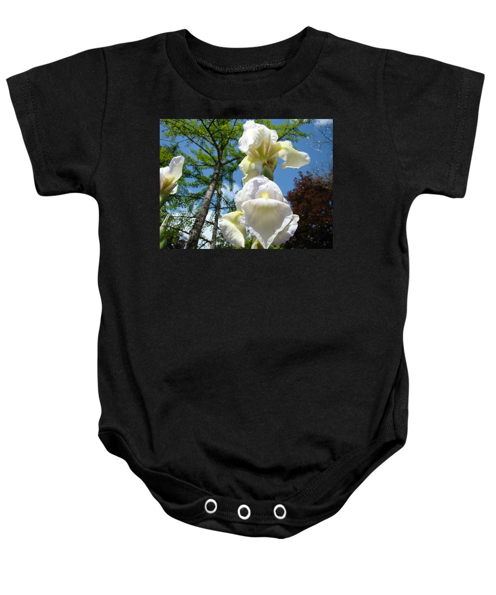 Iris Baby Onesie featuring the photograph Botanical Landscape Trees Blue Sky White Irises Iris Flowers by Baslee Troutman