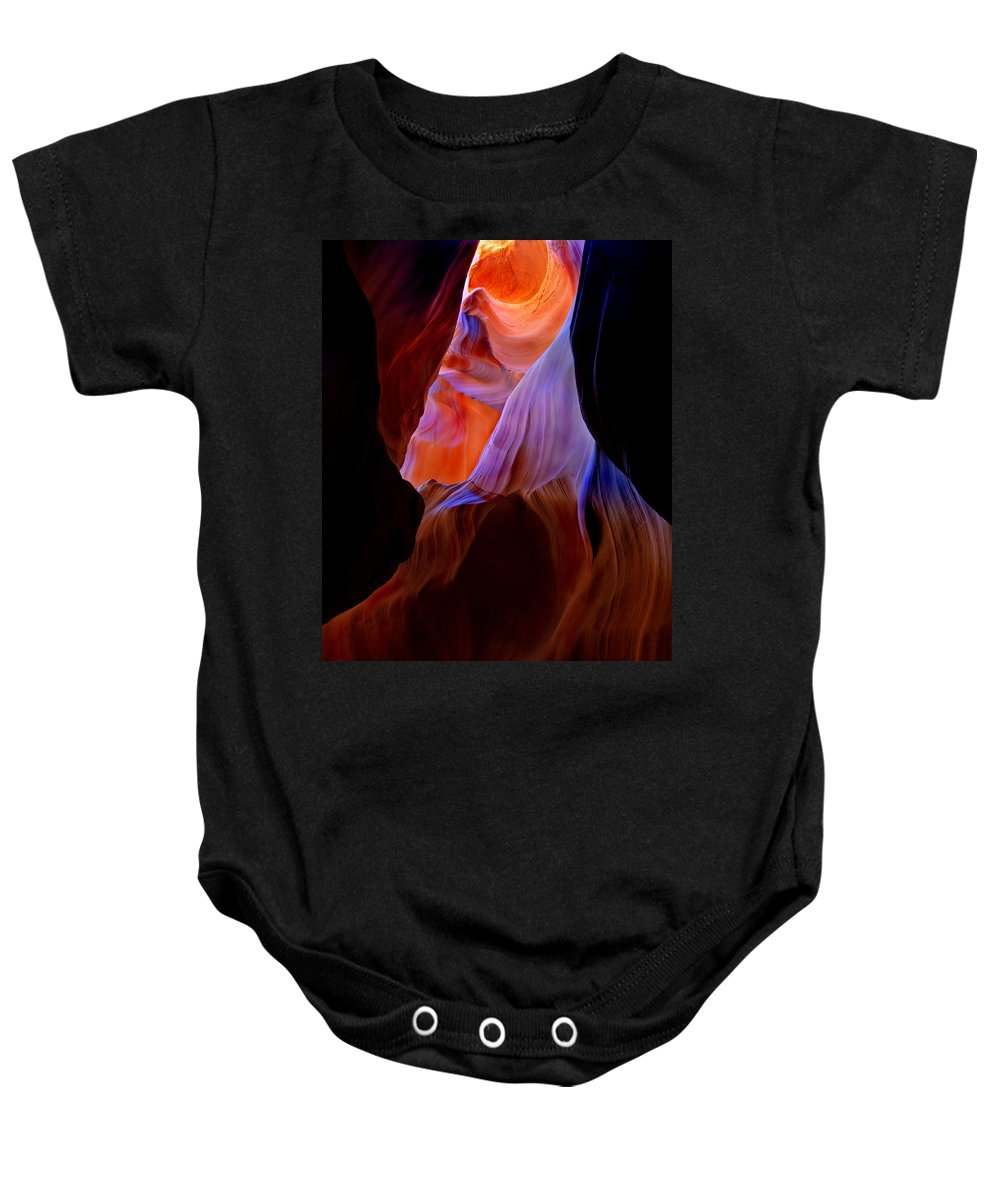 Canyon Baby Onesie featuring the photograph Bottled Light by Mike Dawson