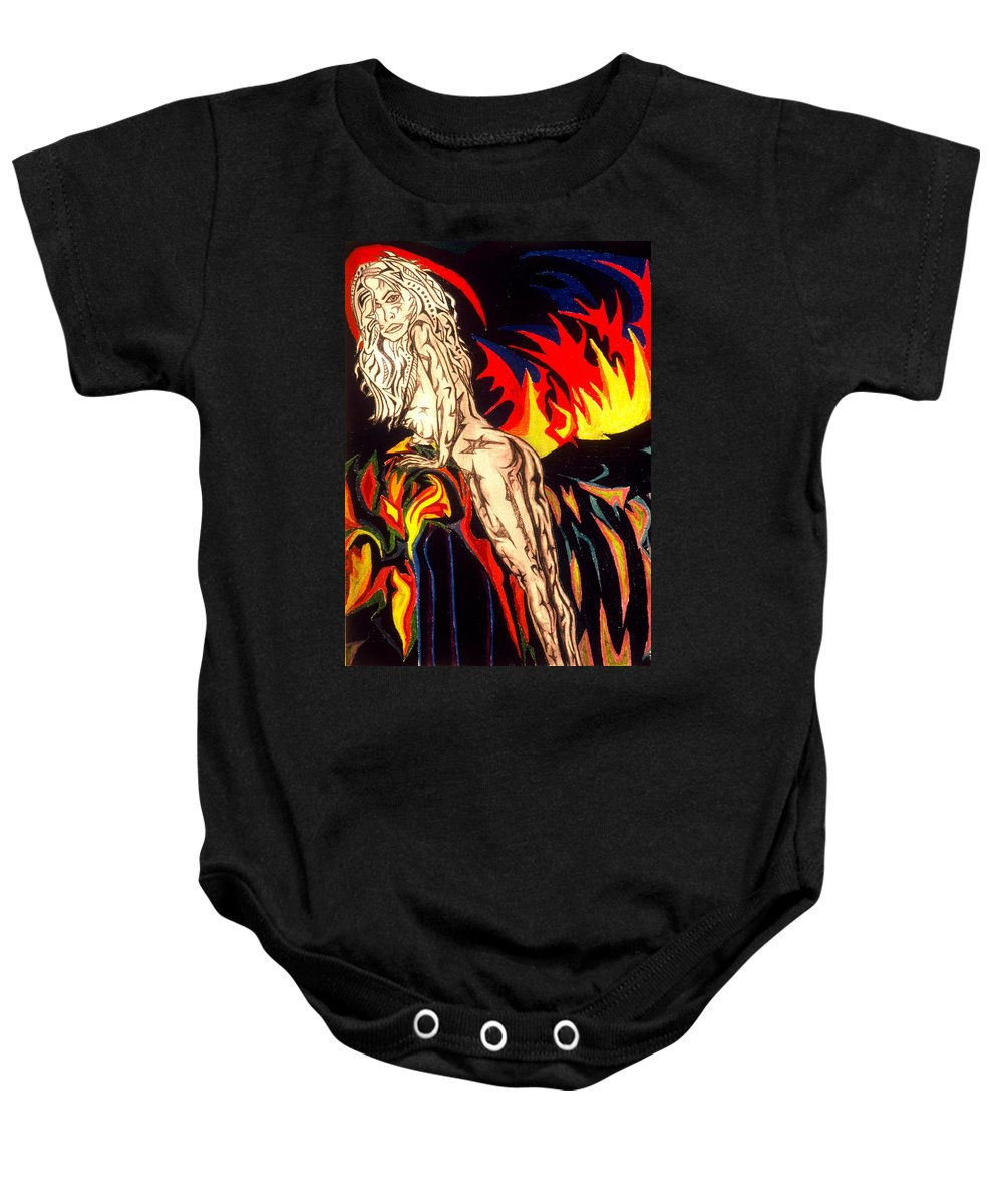 Female Nude Baby Onesie featuring the painting Bottoms Up by Robert SORENSEN