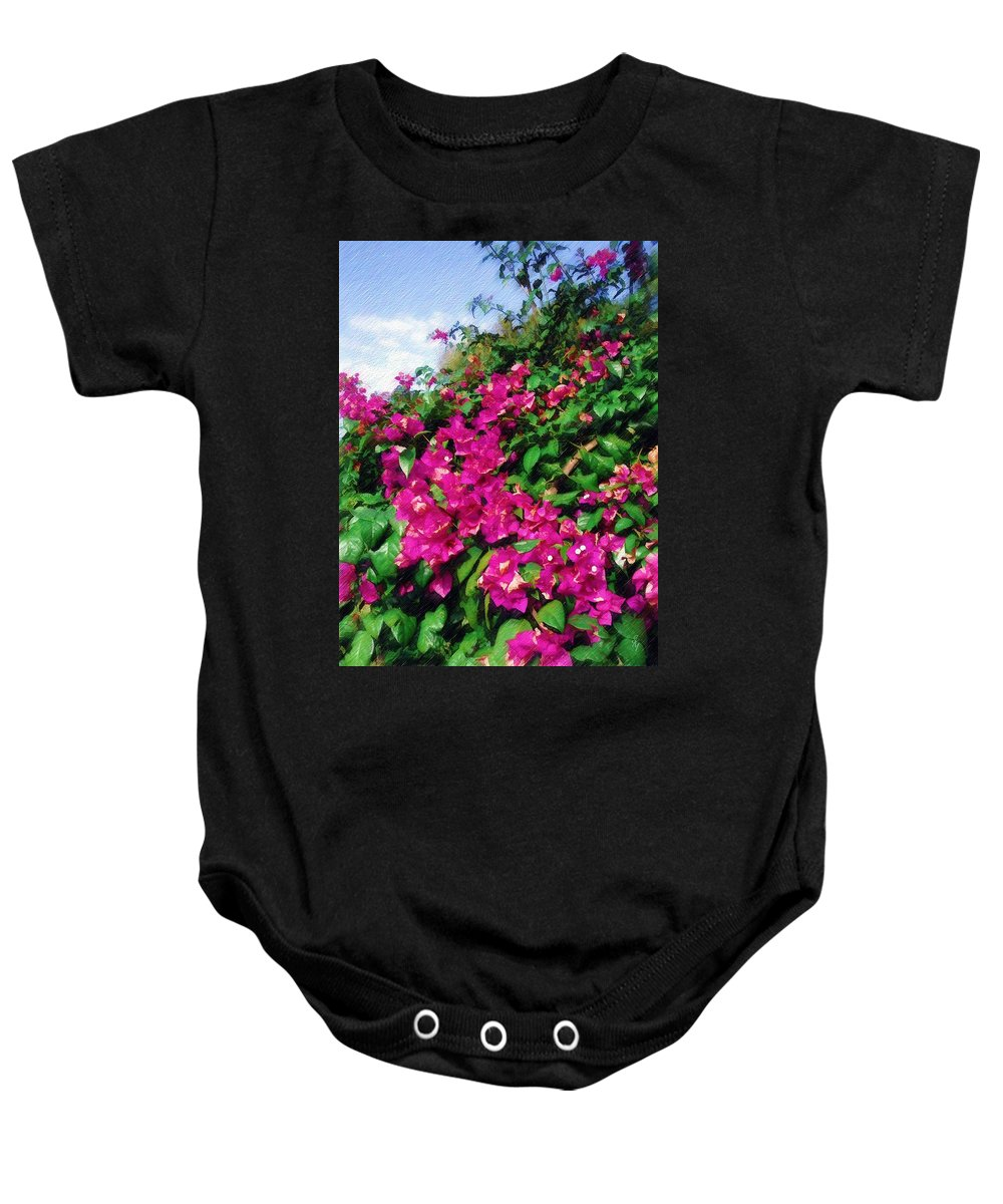 Bougainvillea Baby Onesie featuring the photograph Bougainvillea by Sandy MacGowan