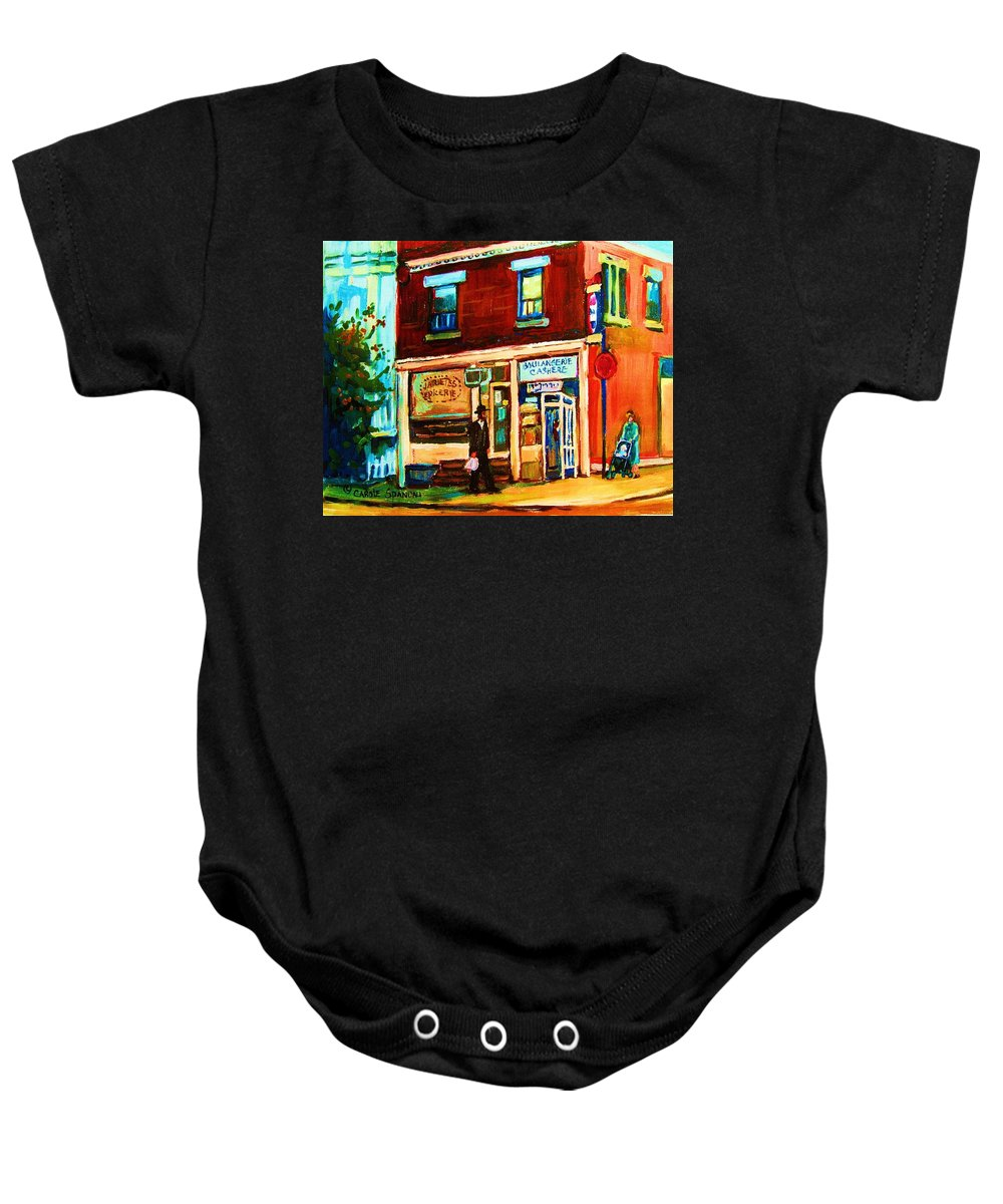 Kosher Bakery Baby Onesie featuring the painting Boulangerie Cachere by Carole Spandau