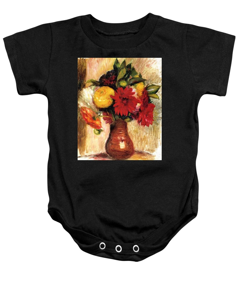 Bouquet Baby Onesie featuring the painting Bouquet Of Flowers In An Earthenware Pitcher by Renoir PierreAuguste